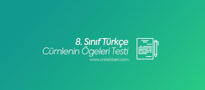 8. Sınıf Cümlenin Ögeleri test