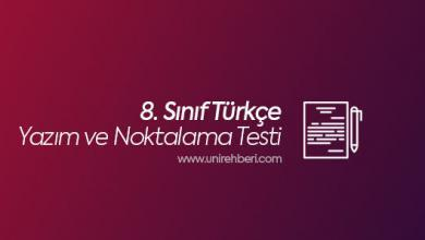 8. Sınıf Yazım-Noktalama testleri