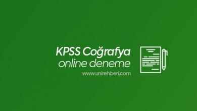 KPSS Coğrafya Online Deneme Çöz